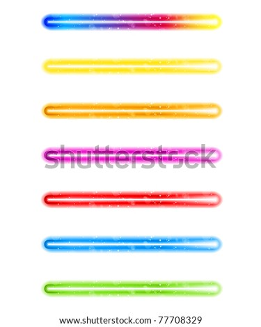 Vector - Laser Neon Colorful Lights on White Background - stock vector