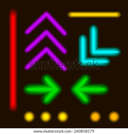 Vector - Laser Neon Colorful Lines  and elements - stock vector