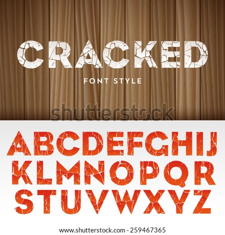Vector latin alphabet with cracked paint effect - stock vector