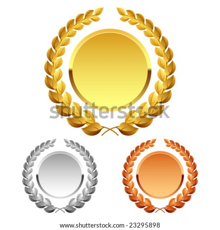 Vector laurel wreath. Detailed portrayal. - stock vector