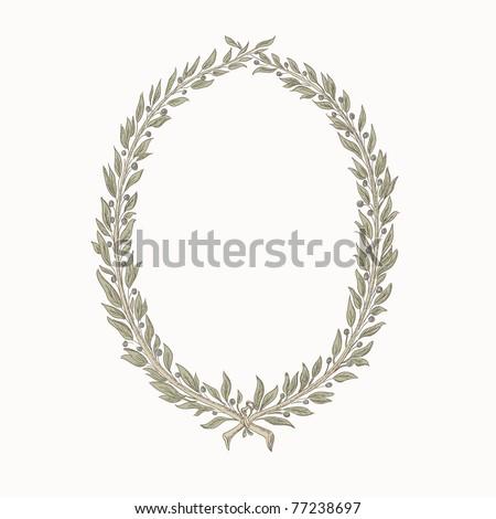 vector laurel wreath / frame, hand drawing - stock vector