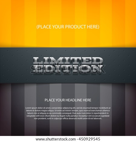 Vector layered promo banner with realistic shadow. Limited edition. Dotted leather texture stripe. 3d stainless steel typography. Flyer design template. Web advertisement. - stock vector