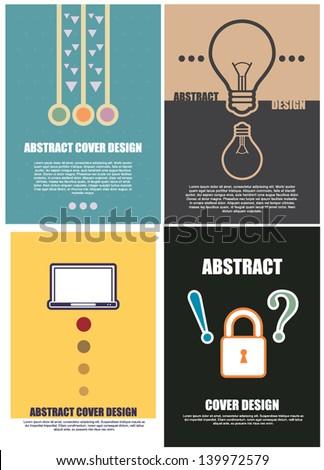 vector layout abstract cover design 4 type, creative idea concept - stock vector