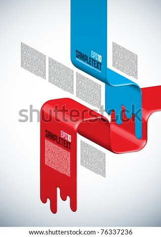 Vector Layout Design on Spilled Paint - stock vector