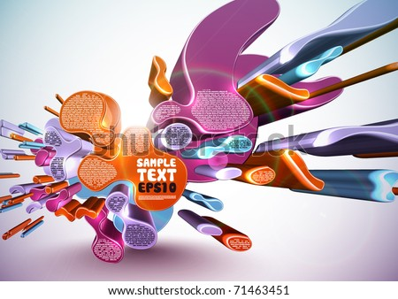 Vector Layout Design with 3D Irregular Patterns - stock vector