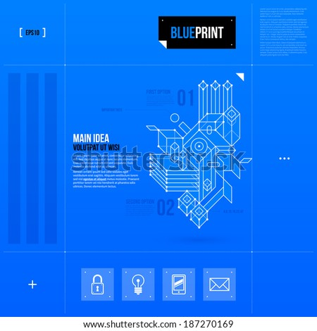 Vector layout with abstract geometric objet in blueprint style. EPS10 - stock vector