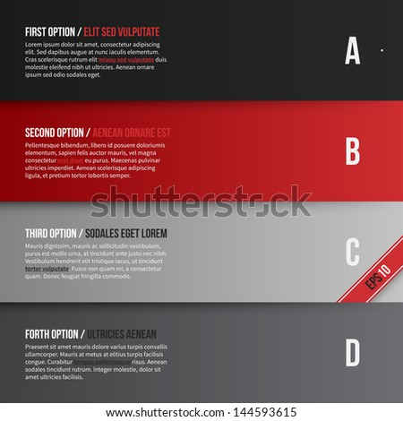 Vector layout with four banners/options. EPS10. - stock vector