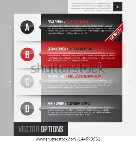 Vector layout with 4 horizontal banners/options. EPS10. - stock vector