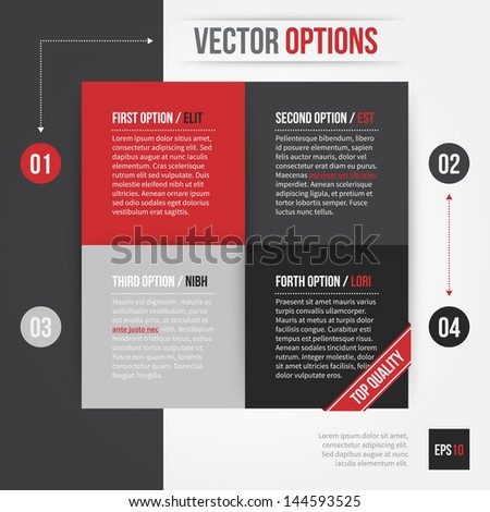 Vector layout with square made of 4 different options. EPS10. - stock vector