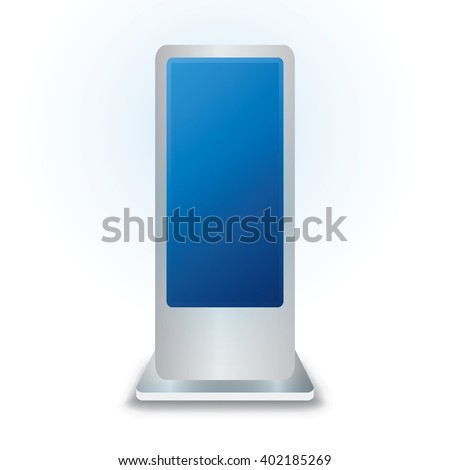 Vector LCD Interactive Information Kiosk Terminal Stand Touch Screen Display, isolated on white background  - stock vector
