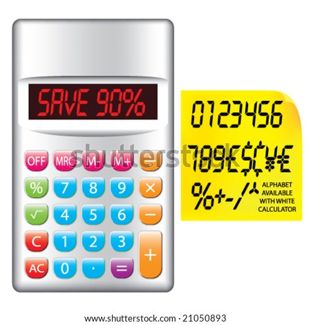 Vector LCD Numbers, Currencies and Symbols Set with Colorful Silver Calculator & Yellow Note Paper