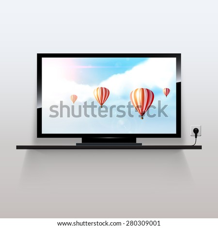 Vector lcd tv monitor, with beautiful fantasy background,  - stock vector