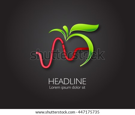 Vector leaf, apple and heartbeat medical monochromatic one Abstract emblem, design concept, logo, logotype element for template.  - stock vector