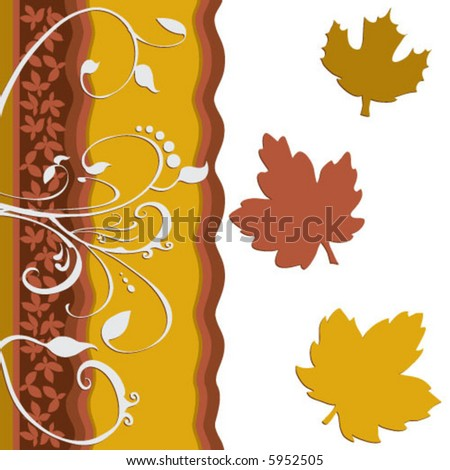 Vector Leaf floral design. Created in rich earth tones. - stock vector