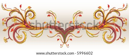Vector Leaf floral design. Grunge foliage decoration. Created in rich earth tones. - stock vector