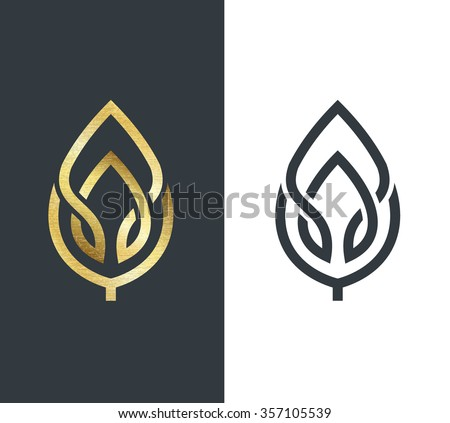 Vector leaf, golden shape and monochromatic one. Abstract emblem, design concept, logo, logotype element for template.  - stock vector