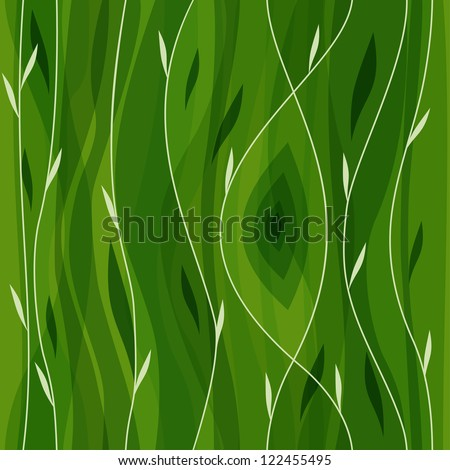 Vector leaf seamless pattern. Abstract nature design or abstract seamless pattern. Floral background. Summer background. Green paper. Retro design. Spring theme. Beautiful green background. - stock vector