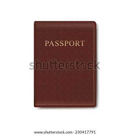 Vector Leather Cover for Passport Isolated on White Background