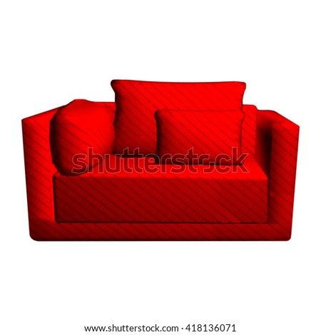 Vector leather red Sofa with pillows isolated on white background. 3d object armchair in room  - stock vector