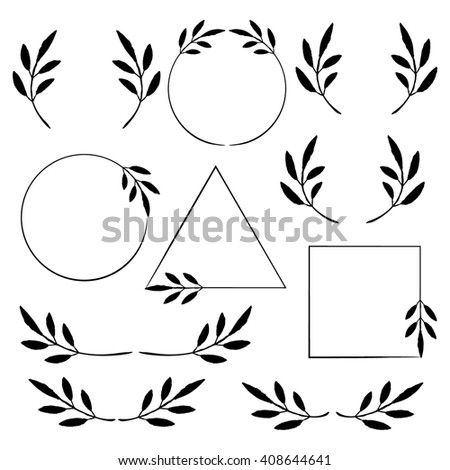 vector leaves wreaths and dividers set minimalist design elements