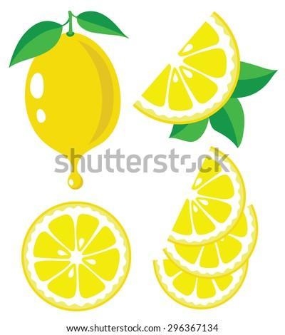 Vector Lemon Lemon Fruit Slices Drop Vector de stock296367134 ...