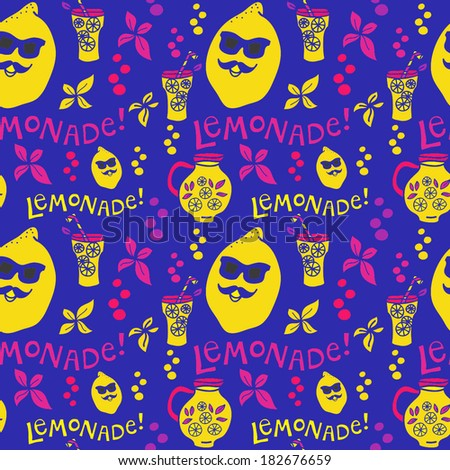 Vector lemonade pattern. Vector lemonade background.