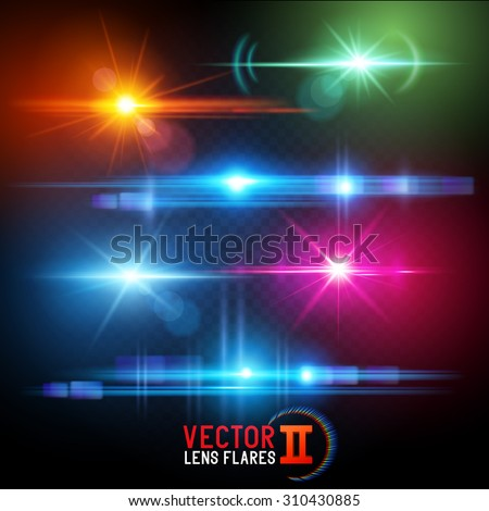 Vector Lens Flare Effects. Lens flares using transparencies. layered vector illustration. - stock vector
