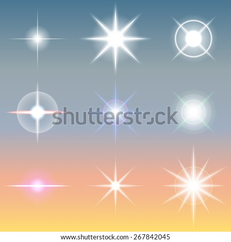 Vector lens flares Set collection  - stock vector