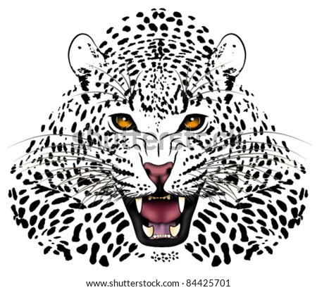 Vector leopard executed in the form of a tattoo