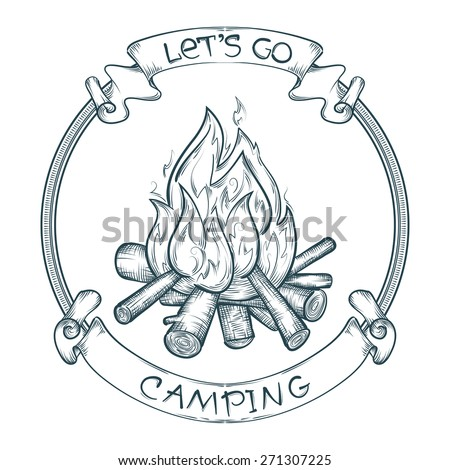 vector let's go camping poster with sketchy campfire - stock vector