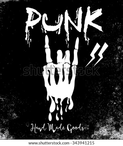 Vector let's rock and punk poster and for apparel - stock vector