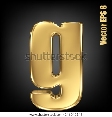 Vector letter g from gold solid alphabet. Lovercase golden font collection. EPS 8 - stock vector