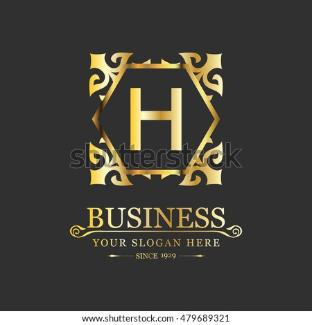 Vector Letter H Business Luxury Logo template Calligraphy template
