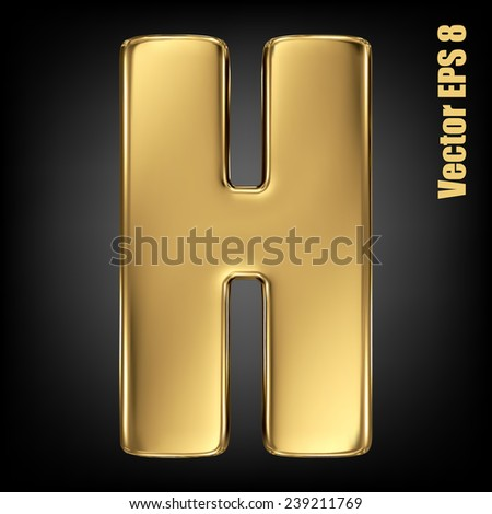Vector letter H from gold solid alphabet. Uppercase golden font collection. EPS 8 - stock vector