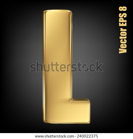Vector letter L from gold solid alphabet. Uppercase golden font collection. EPS 8 - stock vector