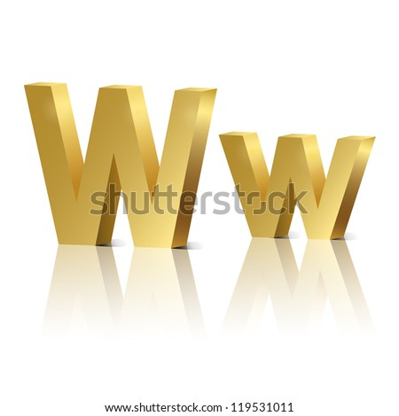 Vector letter W of golden design alphabet - stock vector