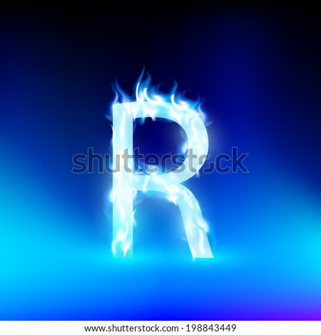 vector letter with blue fire - stock vector