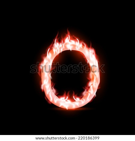 vector letter with red fire - stock vector