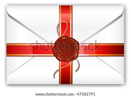 Vector. Letter with ribbon and wax seal. - stock vector