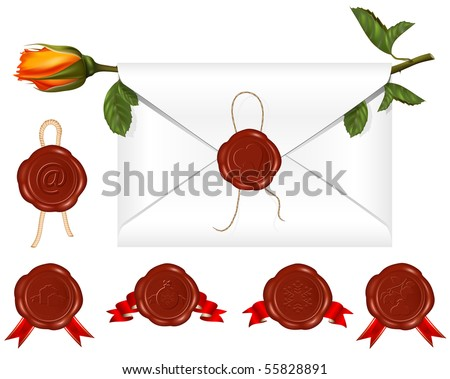 Vector. Letter with wax seal and rose. Set of different wax-seals.