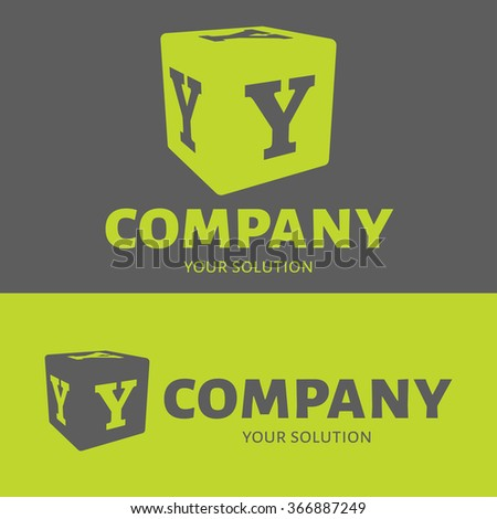 Vector letter Y logo. Grey and green versions of the logo Y. - stock vector