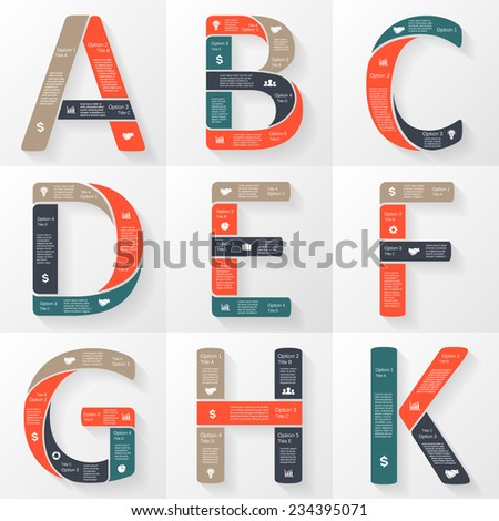 Vector letters A, B, C, D, E, F, G, H, K infographics set. Template for font diagram, graph, presentation and chart. Business concept with options, parts, steps or processes. Abstract background. - stock vector