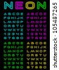 Vector letters and figures with effect neon - stock photo