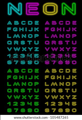 Vector letters and figures with effect neon - stock vector