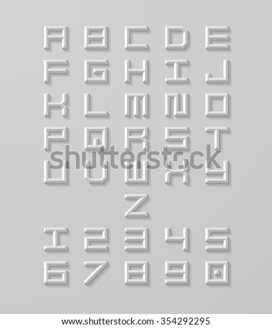 Vector letters and numbers with shadow. White 3d alphabet. Modern vector font. - stock vector
