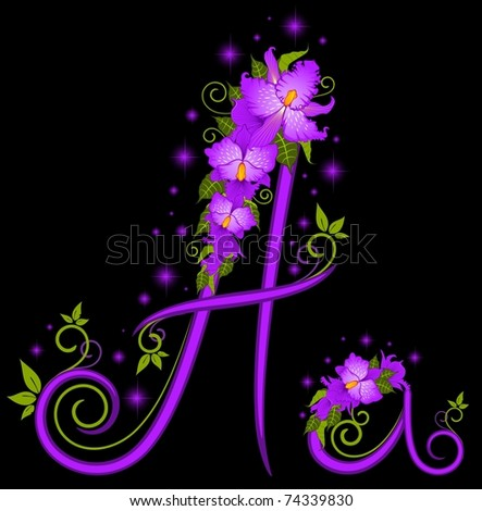 Vector letters for signs with flowers - stock vector