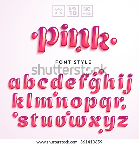 Vector letters made of pink jelly liquid. Latin alphabet from A to Z. Vivid realistic typeface. - stock vector