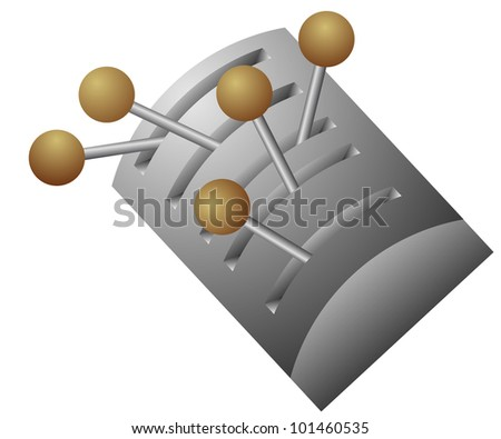 vector lever switch - on-off position - stock vector