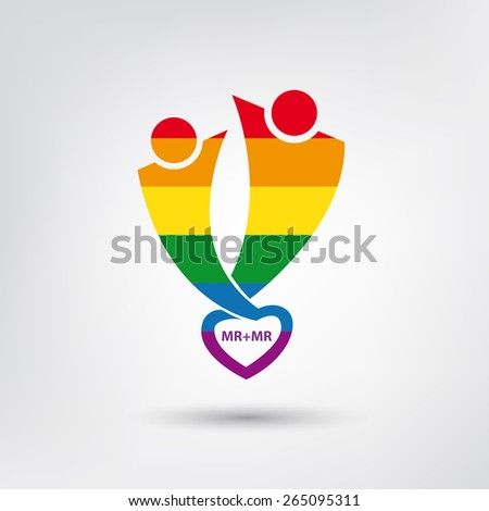 Vector lgbt flag, gay love symbol with heart, homosexual couple - stock vector