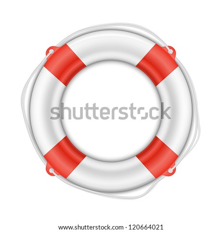 Vector Life Buoy isolated on white background with shadow